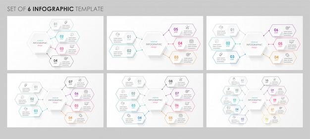 Conjunto de diseño circular de infografía con iconos y 4, 5, 6, 8 opciones o pasos. concepto de negocio.