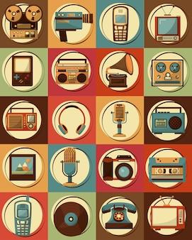 Conjunto de diseño clásico retro vintage dispositivos