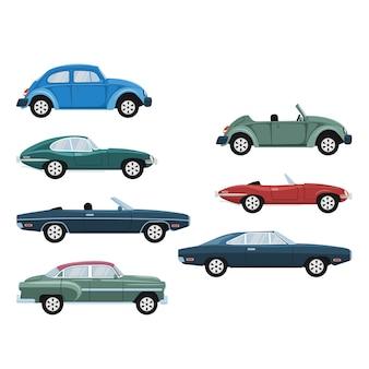 Conjunto de diseño de coches de lujo clásico antiguo retro
