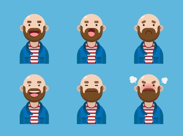 Conjunto de diseño de colección de expresión de avatar lindo hombre calvo