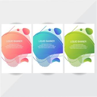 Conjunto de diseño colorido banner líquido