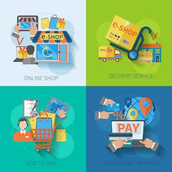 Conjunto de diseño de concepto de comercio electrónico de compras