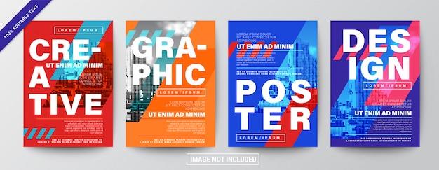 Conjunto de diseño creativo de diseño gráfico. tipografía en cuadrícula diagonal con color rojo y azul para volantes
