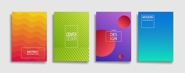 Conjunto de diseño de cubierta de fondo de línea abstracta de color degradado brillante moderno