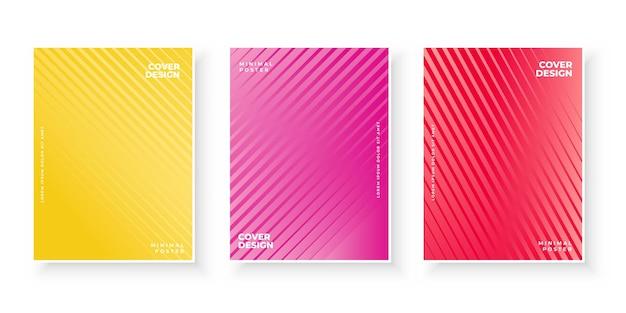 Conjunto de diseño de cubiertas de degradado colorido mínimo