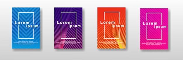 Conjunto de diseño de cubiertas mínimas. gradientes de medios tonos coloridos