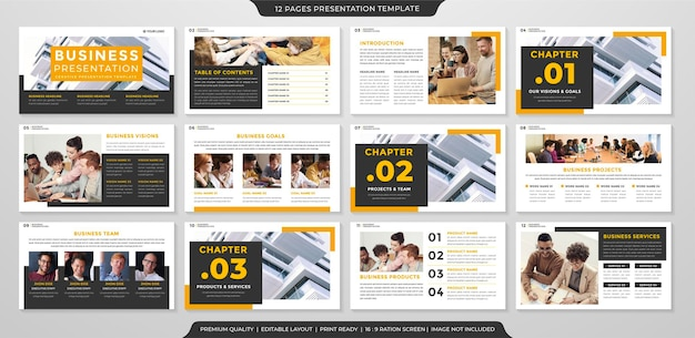 Conjunto de diseño de diapositivas de presentación empresarial