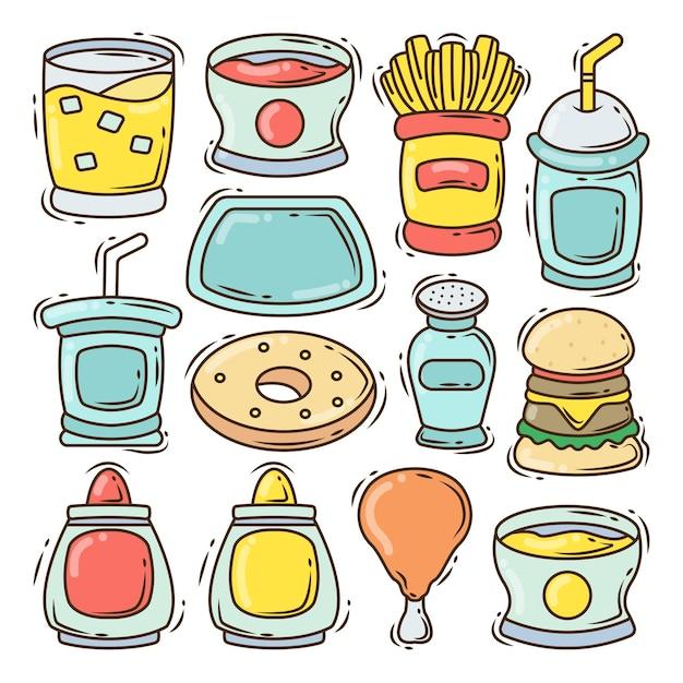 Conjunto de diseño de doodle de dibujos animados de elementos de comida rápida dibujados a mano