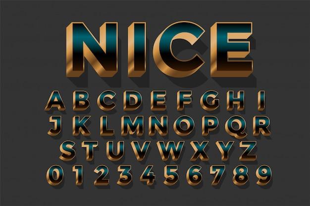 Conjunto de diseño de efecto de texto de lujo real dorado 3d
