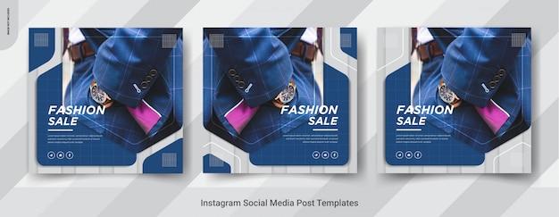 Conjunto de diseño elegante de publicaciones de redes sociales de instagram.