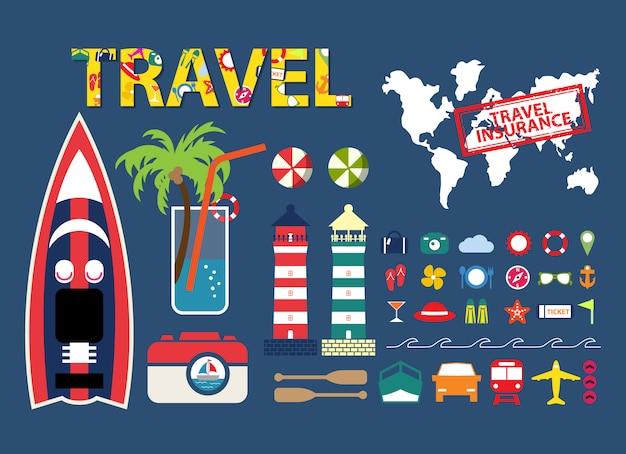 Conjunto de diseño de elementos de viaje
