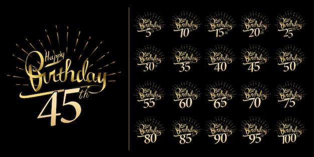 Conjunto de diseño de emblema de celebración de aniversario y fuegos artificiales brillantes