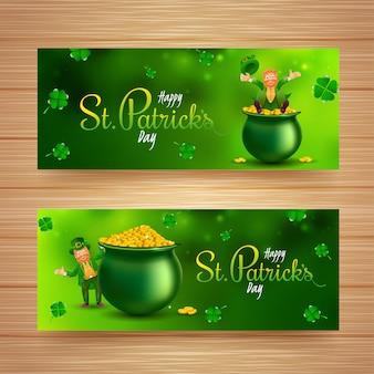 Conjunto de diseño de encabezado o pancarta del día de san patricio con personaje de duende, olla de monedas y hojas de trébol