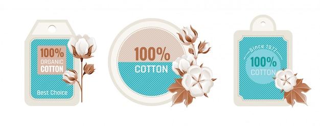 Conjunto de diseño de etiqueta de algodón ecológico.
