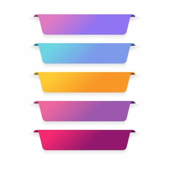 Conjunto de diseño de etiqueta de banner de color.