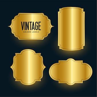 Conjunto de diseño de etiquetas brillantes vintage dorado real