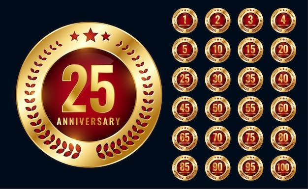 Conjunto de diseño de etiquetas doradas de aniversario premium