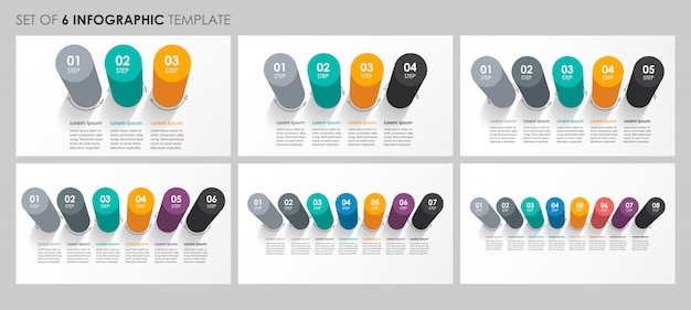 Conjunto de diseño de etiquetas de infografía con 3, 4, 5, 6, 7, 8 opciones o pasos. concepto de negocio.