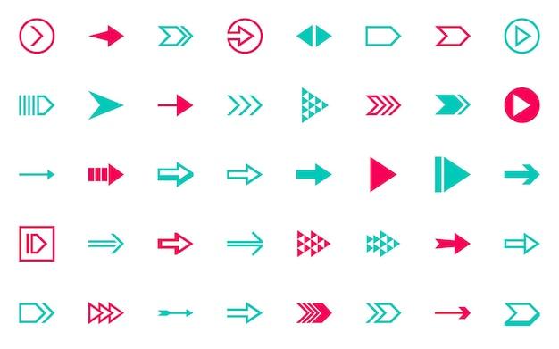 Conjunto de diseño de flecha, botón, siguiente, jugar, rápido