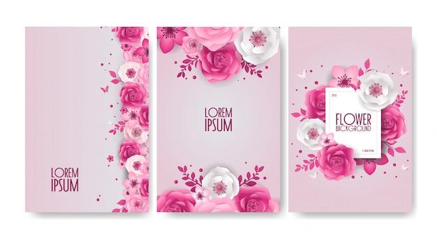 Conjunto de diseño de flores festivas de primavera, decoraciones, banner de estilo de corte de papel con flor, mariposa.