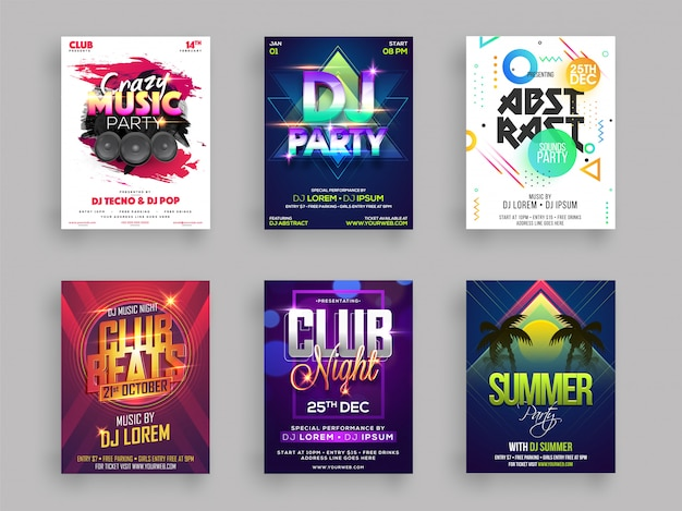 Conjunto de diseño de flyer o cartel de fiesta musical o de verano