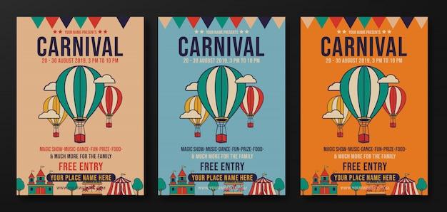 Conjunto de diseño de flyer retro de fiesta de carnaval