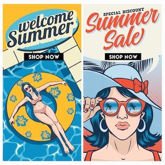 Conjunto de diseño de folleto de venta de verano retro