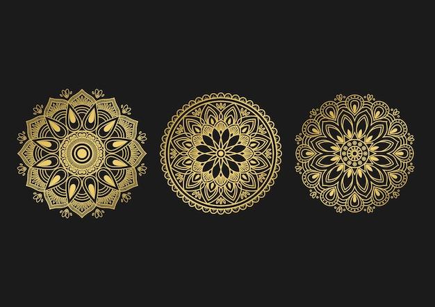 Conjunto de diseño de fondo mandala ornamental redondo ilustración vectorial