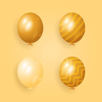 Conjunto de diseño de globos realista con diferentes patrones y colores.