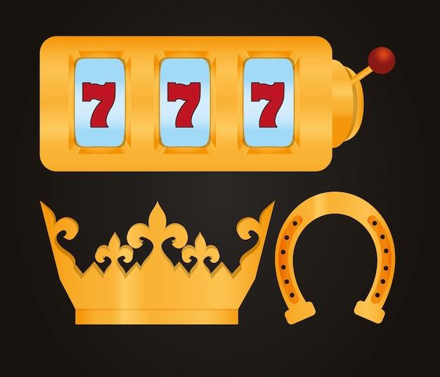 Conjunto de diseño gráfico del ejemplo del vector de la colección de los elementos del casino