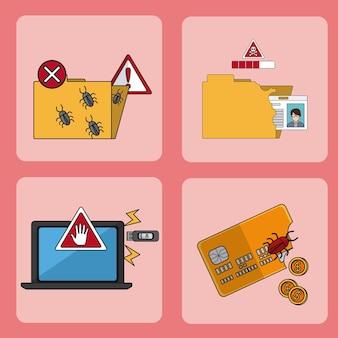 Conjunto de diseño gráfico del ejemplo del vector de la colección de los iconos del pirata informático
