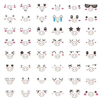 Conjunto de diseño de icono de cara de cerdo kawaii.