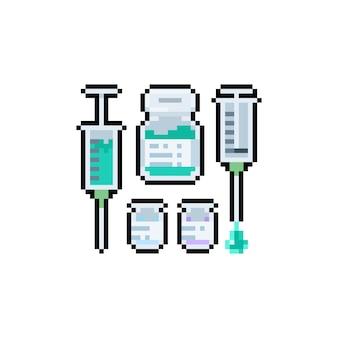 Conjunto de diseño de icono de vacuna de pixel art.