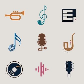 Conjunto de diseño de icono de vector de música plana editable