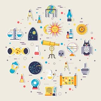 Conjunto de diseño de iconos de casa de astrología