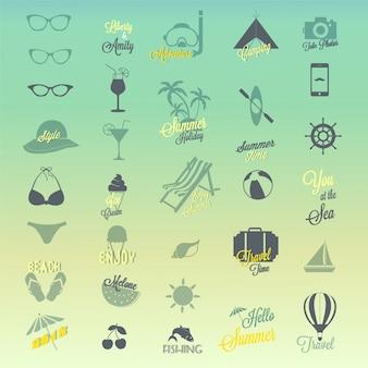 Conjunto de diseño de iconos de verano