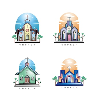 Conjunto de diseño de iglesia cristiana