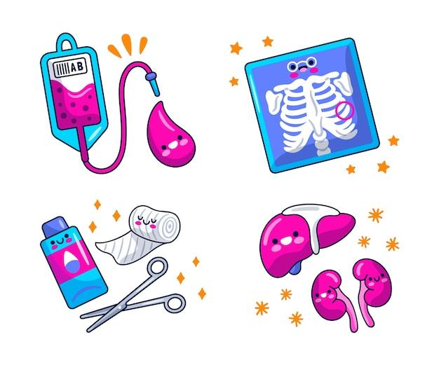 Conjunto de diseño de ilustración de pegatinas médicas