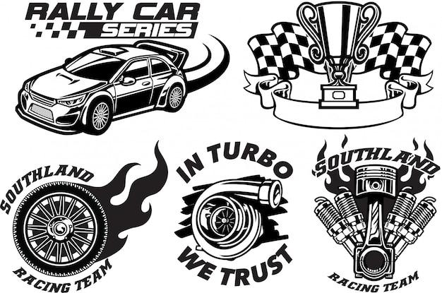 Conjunto de diseño de insignia de carreras
