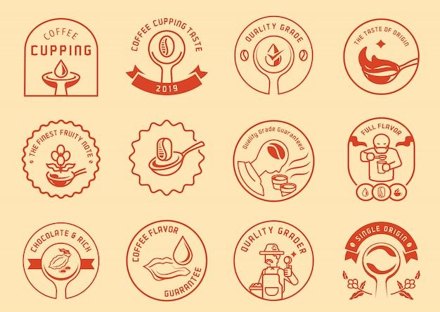 Conjunto de diseño de insignia de logo de catación de café
