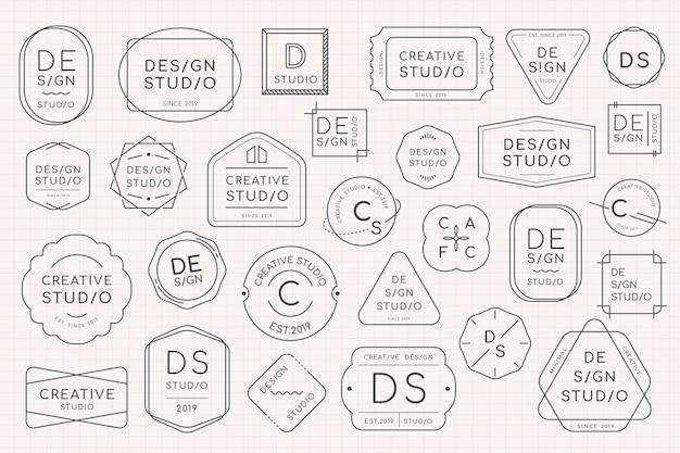 Conjunto de diseño de insignia de logotipo mínimo