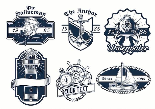 Conjunto de diseño de la insignia náutica.