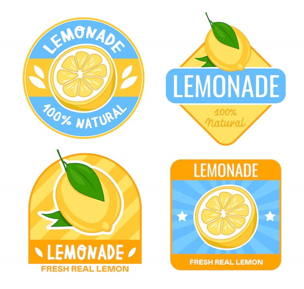 Conjunto de diseño de insignias de limonada