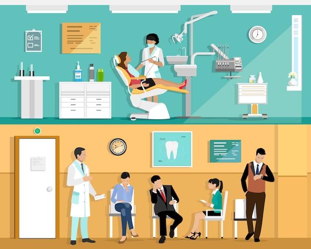 Conjunto de diseño de interiores de oficina de dentista colorido plano con sillón dental, dentista, paciente y herramientas dentales. sala de espera de pacientes en la clínica dental.