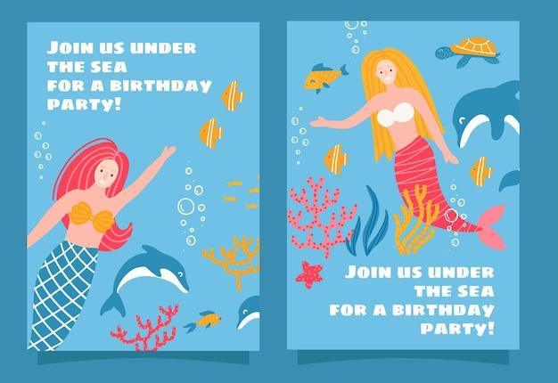 Conjunto de diseño de invitación de fiesta temática de mar de sirena