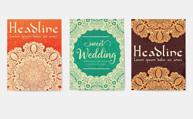 Conjunto de diseño para invitaciones de boda.
