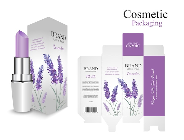 Conjunto de diseño de lápiz labial de caja de embalaje. lavender purple cosmetic. pintura de acuarela de flores.