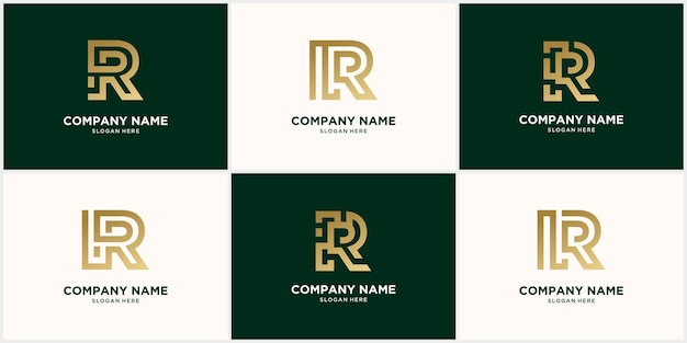 Conjunto de diseño de letra r logo monograma abstracto, en color dorado