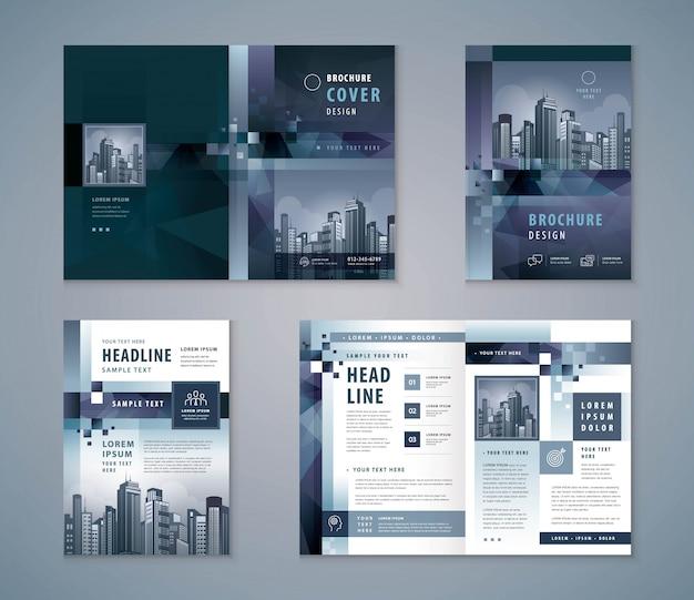 Conjunto de diseño de libro de portada, folletos de plantilla de fondo de píxel geométrico gris abstracto