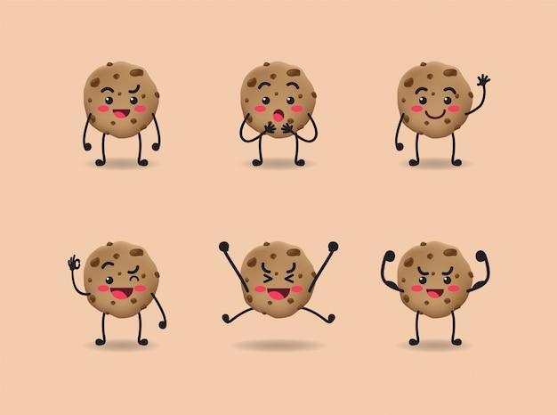 Conjunto de diseño lindo de expresión de galleta